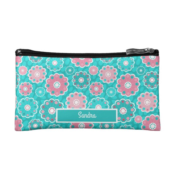 Trendy pink and aqua personalized makeup bag