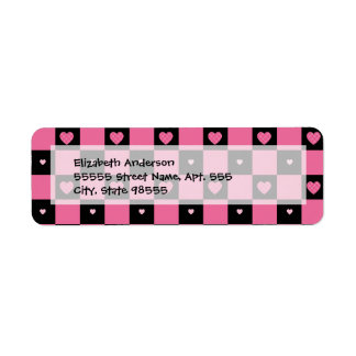 Trendy Pink and Black Checkered Hearts Label