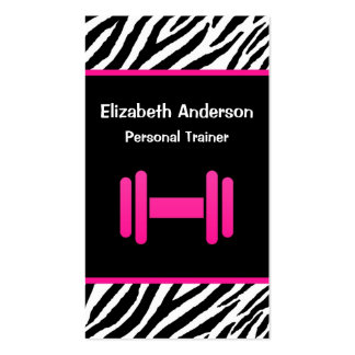 Trendy Pink and Black Dumbbell Personal Trainer Business Card