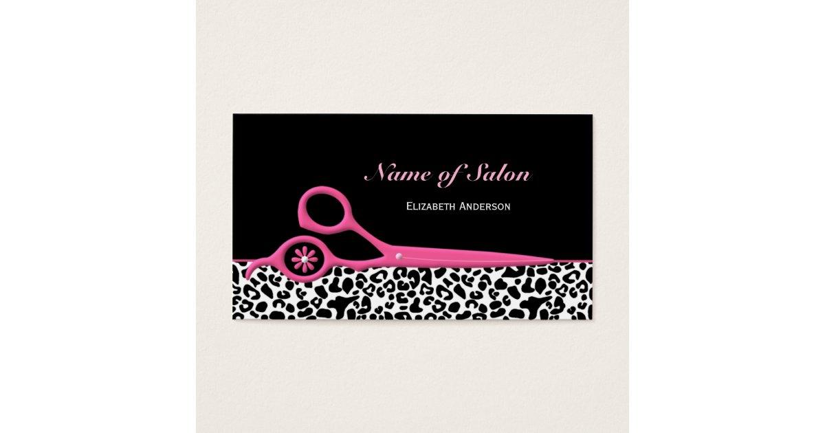 Trendy Pink and Black Leopard Hair Salon Scissors Business Card ...