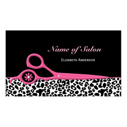Trendy pink and black leopard hair salon scissors business cards trendy pink and black leopard hair salon scissors business card template colourmoves Image collections