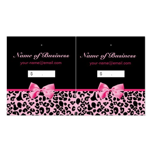 Trendy Pink And Black Leopard Hot Pink Hang Tags Business Cards