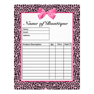 """Trendy Pink And Black Leopard Hot Pink Order Forms 8.5"""" X 11"""" Flyer"""