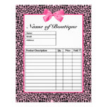 Trendy Pink And Black Leopard Hot Pink Order Forms Personalized Flyer