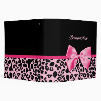 Trendy Pink And Black Leopard Hot Pink Ribbon 3 Ring Binder