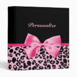 Trendy Pink And Black Leopard Hot Pink Ribbon 3 Ring Binder