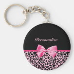 Trendy Pink And Black Leopard Hot Pink Ribbon Basic Round Button Keychain
