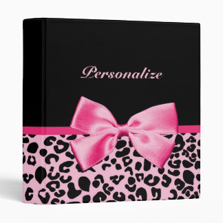 Trendy Pink And Black Leopard Hot Pink Ribbon Binders
