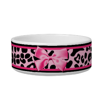 Trendy Pink And Black Leopard Hot Pink Ribbon Bowl