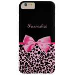 Trendy Pink And Black Leopard Hot Pink Ribbon Barely There iPhone 6 Plus Case