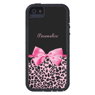 Trendy Pink And Black Leopard Hot Pink Ribbon Case For iPhone SE/5/5s