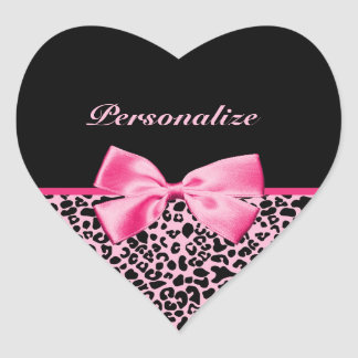 Trendy Pink And Black Leopard Hot Pink Ribbon Heart Sticker