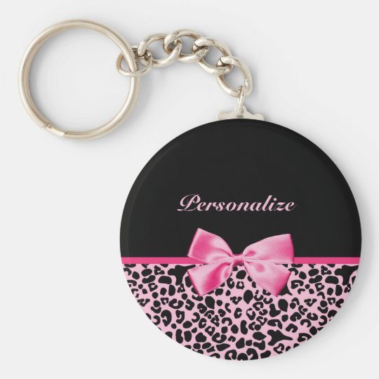 Trendy Pink And Black Leopard Hot Pink Ribbon Keychain