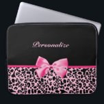 "Trendy Pink And Black Leopard Hot Pink Ribbon Laptop Sleeve<br><div class=""desc"">A trendy and stylish pink and black leopard print 15 inch Laptop Sleeve with a cute hot pink ribbon bow wrapped like a present. Personalize this chic animal pattern device cover by adding your name. Perfect designer women&#39;s fashion for the fashionista in any teen girly girl!</div>"