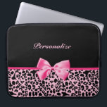 """Trendy Pink And Black Leopard Hot Pink Ribbon Laptop Sleeve<br><div class=""""desc"""">A trendy and stylish pink and black leopard print 15 inch Laptop Sleeve with a cute hot pink ribbon bow wrapped like a present. Personalize this chic animal pattern device cover by adding your name. Perfect designer women&#39;s fashion for the fashionista in any teen girly girl!</div>"""