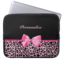 Trendy Pink And Black Leopard Hot Pink Ribbon Laptop Sleeves