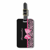 Trendy Pink And Black Leopard Hot Pink Ribbon Tags For Luggage