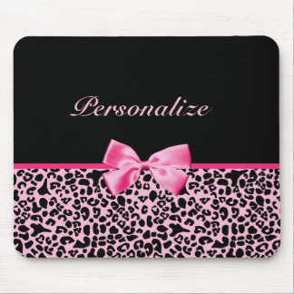 Trendy Pink And Black Leopard Hot Pink Ribbon Mouse Pad