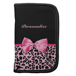 Trendy Pink And Black Leopard Hot Pink Ribbon Folio Planner