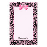 Trendy Pink And Black Leopard Hot Pink Ribbon Stationery Design