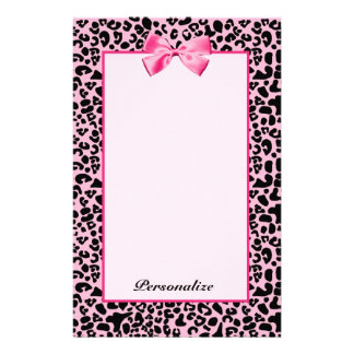 Trendy Pink And Black Leopard Hot Pink Ribbon Stationery