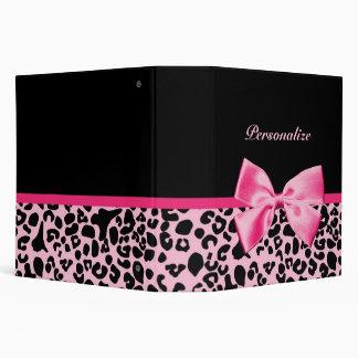 Trendy Pink And Black Leopard Hot Pink Ribbon Vinyl Binders