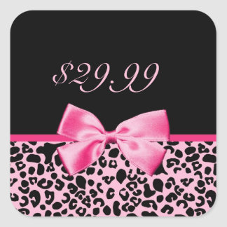 Trendy Pink And Black Leopard Hot Pink Sales Tags Square Sticker