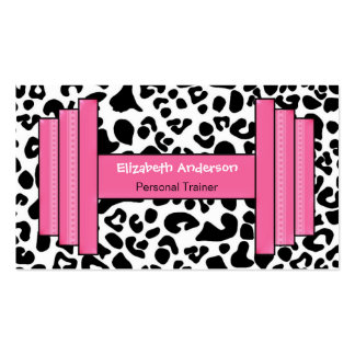Trendy Pink And Black Leopard Personal Trainer Double-Sided Standard Business Cards (Pack Of 100)