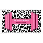 Trendy Pink And Black Leopard Personal Trainer Business Card Template