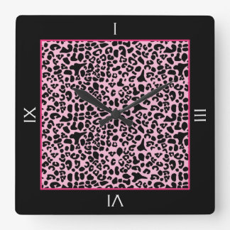 Trendy Pink And Black Leopard With Roman Numerals Square Wall Clock