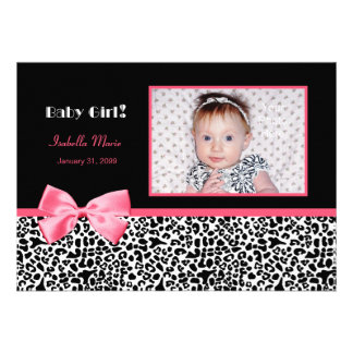 Trendy Pink And Black Photo Birth Announcements
