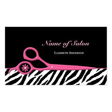 Trendy Pink and Black Zebra Hair Salon Scissors Double-Sided Standard Business Cards (Pack Of 100)