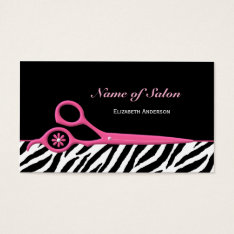 Trendy Pink And Black Zebra Hair Salon Scissors Business Card at Zazzle
