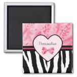 Trendy Pink and Black Zebra Pattern Bow and Name 2 Inch Square Magnet