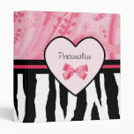 Trendy Pink and Black Zebra Pattern Bow and Name Vinyl Binders