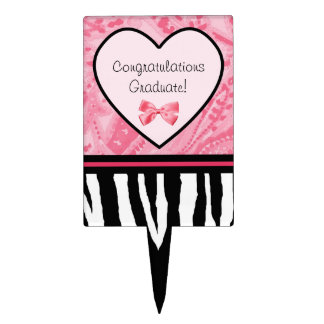 Trendy Pink and Black Zebra Pattern Bow and Name Cake Topper