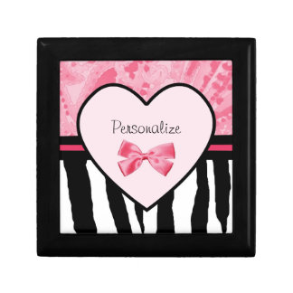Trendy Pink and Black Zebra Pattern Bow and Name Keepsake Box