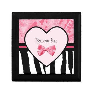 Trendy Pink and Black Zebra Pattern Bow and Name Keepsake Box