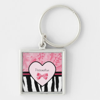 Trendy Pink and Black Zebra Pattern Bow and Name Keychain