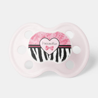 Trendy Pink and Black Zebra Pattern Bow and Name Pacifier