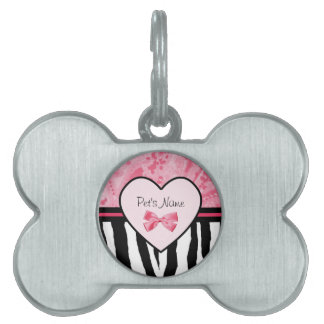 Trendy Pink and Black Zebra Pattern Bow and Name Pet Name Tag