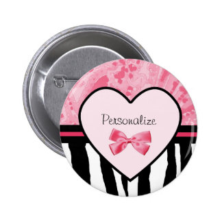 Trendy Pink and Black Zebra Pattern Bow and Name Pinback Button