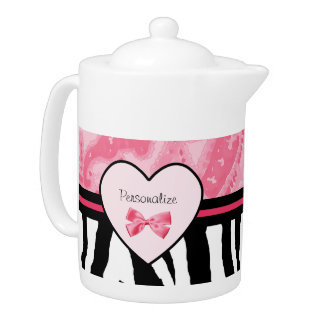 Trendy Pink and Black Zebra Pattern Bow and Name Teapot