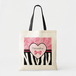 Trendy Pink and Black Zebra Pattern Bow and Name Tote Bag