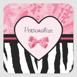 Trendy Pink And Black Zebra Pattern With Name Square Stickers