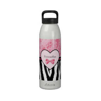 Trendy Pink And Black Zebra Pattern With Name Reusable Water Bottle
