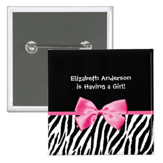 Trendy Pink And Black Zebra Print Girl Baby Shower Button
