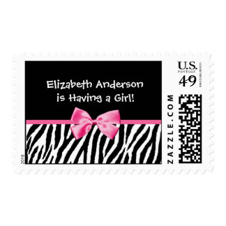 Trendy Pink And Black Zebra Print Girl Baby Shower Stamp