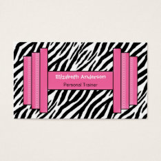 Trendy Pink And Black Zebra Print Personal Trainer Business Card at Zazzle