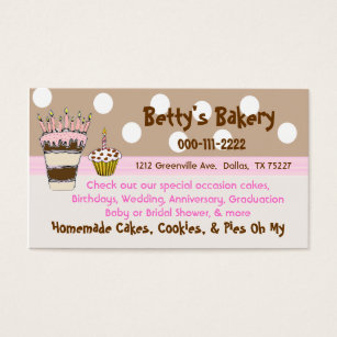 Homemade pies business cards templates zazzle trendy pink and brown bakery business card reheart Image collections